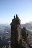 "Eivind Wilhelmsen from Norway: ""Jumping the Goat, a granite tower hanging high over the city of Svolv?r, Lofoten. After climbing the route Forsida 5c traditional. A great day, and by luck some photographer spotted me and set up to take this photo.(c) Mads"
